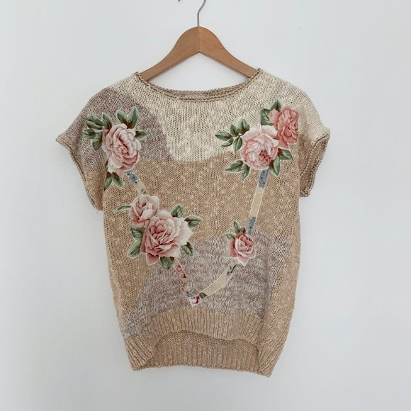 Vintage Tops - Vintage Textured Knit Boxy Top